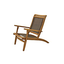 Outdoor Interiors® All-Weather Eucalyptus & Sling Patio Lounger Chair in Brown/Dark Brown