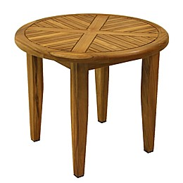 Outdoor Interiors® 24-Inch Round Teak Patio Lounging Table
