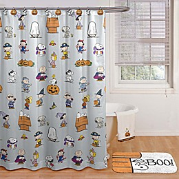 Peanuts™ Halloween 70-inch x 72-Inch Shower Curtain with Hooks in Grey