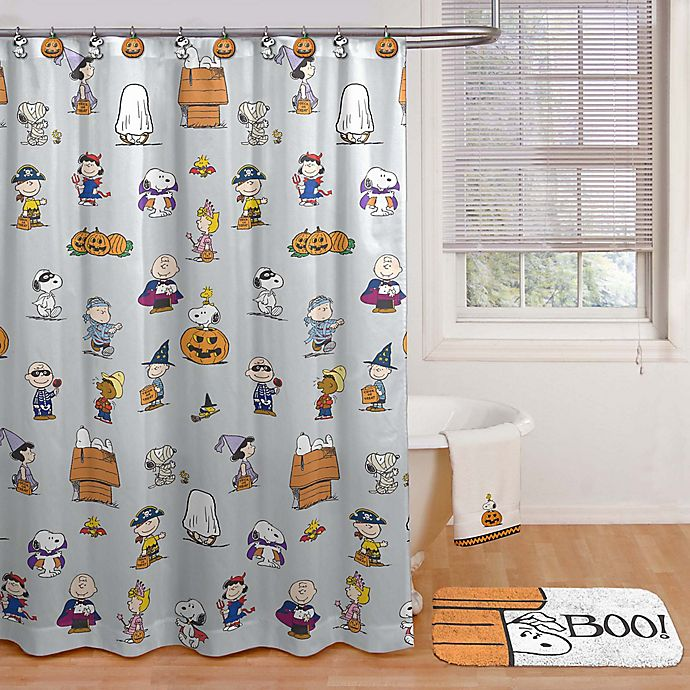 Alternate image 1 for Peanuts™ Halloween 70-inch x 72-Inch Shower Curtain with Hooks in Grey