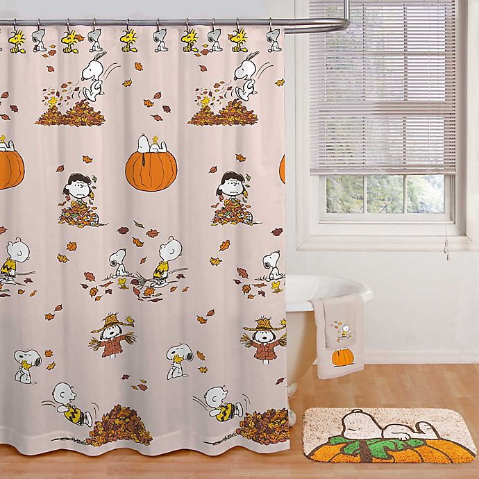 Alternate image 1 for Peanuts™ Harvest 70-Inch x 72-Inch Shower Curtain in Tan with Hooks