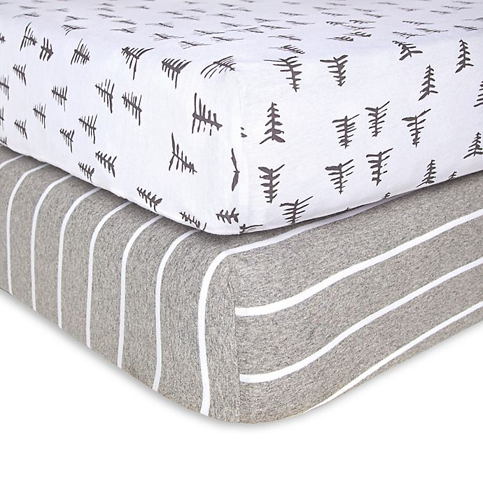 Alternate image 1 for Burt's Bees Baby® Pine Forest Organic Cotton Fitted Crib Sheets in Heather Grey (Set of 2)