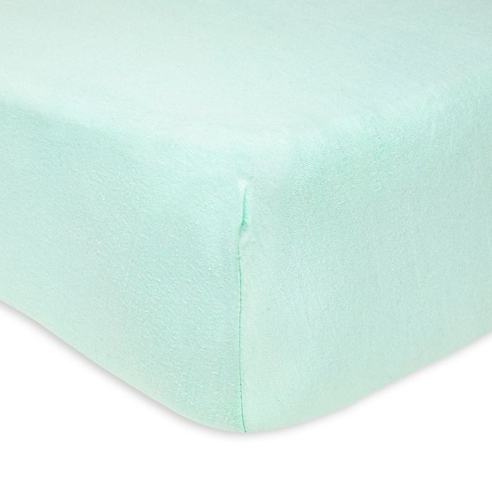 Alternate image 1 for Burt's Bees Baby® Organic Cotton Fitted Crib Sheet in Glacier