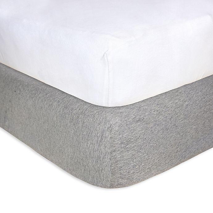 Alternate image 1 for Burt's Bees Baby® 2-Pack Organic Cotton Crib Sheet in Grey & White