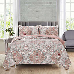 Ellen Tracy Karena 3-Piece Full/Queen Reversible Quilt Set in Rose