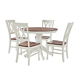 Shelby 5-Piece Round Dining Set in Distressed White/Mahogany