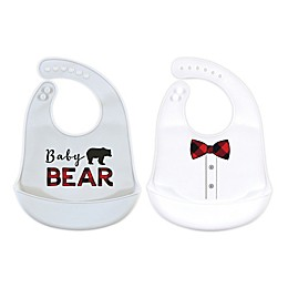 Little Treasure® 2-Pack Baby Bear Silicone Bibs in Grey/White