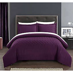 Chic Home Jazmaine 3-Piece King Comforter Set in Plum
