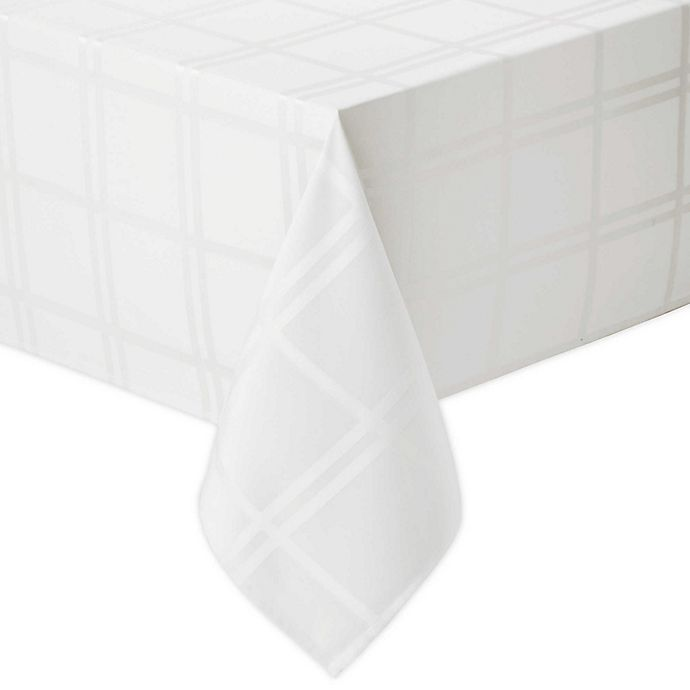 Alternate image 1 for Wamsutta® Solid 60-Inch x 102-Inch Oblong Tablecloth in White