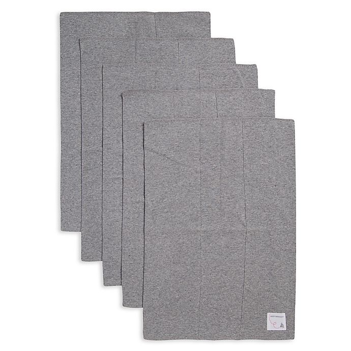 Alternate image 1 for Burt's Bees Baby® 5-Pack Organic Cotton Burp Cloths in Heather Grey