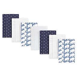 Hudson Baby® 7-Pack Elephant Flannel Burp Cloths in Blue/White