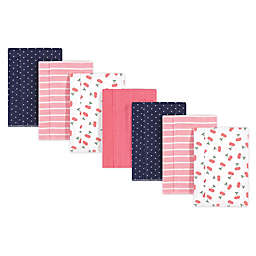 Hudson Baby® 7-Pack Cherry Flannel Burp Cloths in Pink/Blue