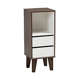Baxton Studio Essie Two-Tone 2-Drawer Bookcase in White/Walnut