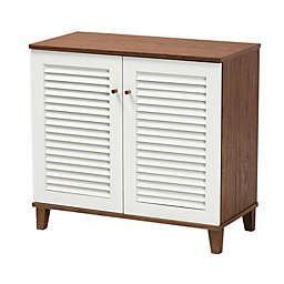 Baxton Studio Tonya Two-Tone 4-Shelf Shoe Cabinet