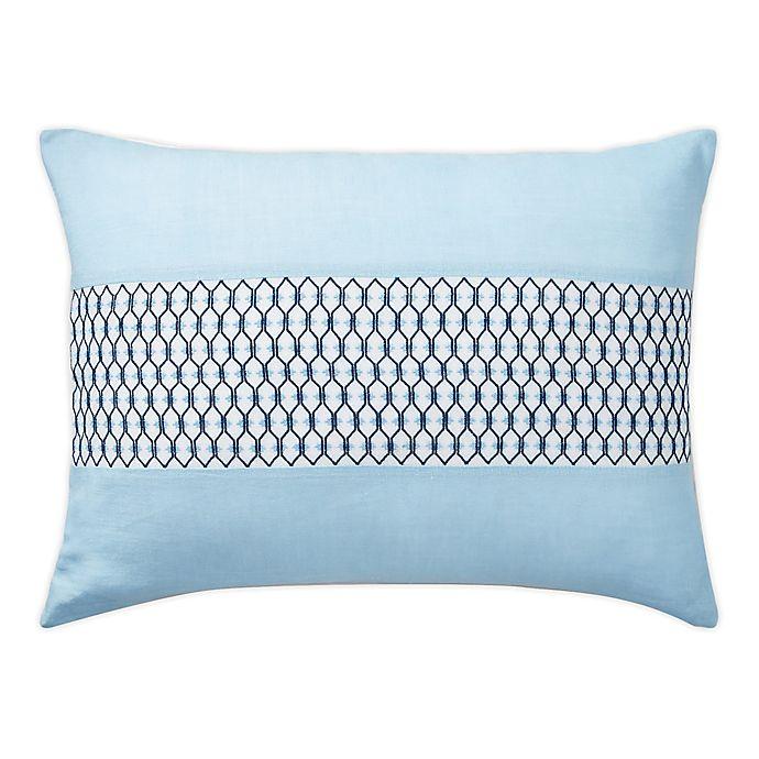 Alternate image 1 for Lauren Ralph Lauren Joanna Trellis Oblong Throw Pillow in Aqua/White