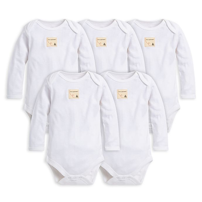 Alternate image 1 for Burt's Bees Baby® Size 12M 5-Pack Organic Cotton Long Sleeve Bodysuit in Cloud