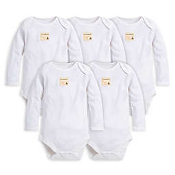Burt's Bees Baby® Size 12M 5-Pack Organic Cotton Long Sleeve Bodysuit in Cloud