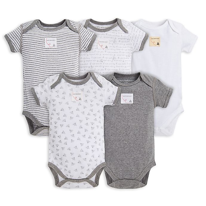 Alternate image 1 for Burt's Bees Baby® 5-Pack Organic Cotton Short Sleeve Bodysuit in Mixed Grey