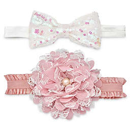 Khristie® 2-Pack Flower and Sequin Bow Headbands