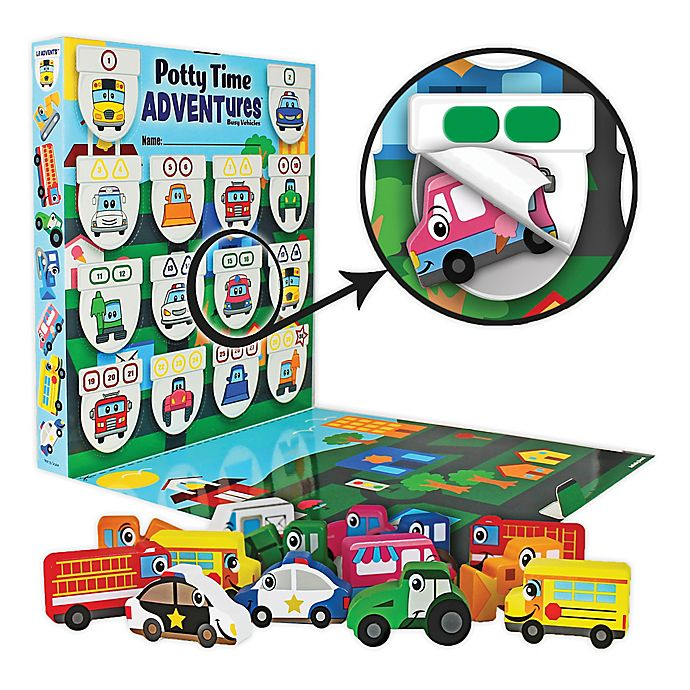 Alternate image 1 for Lil ADVENTS Potty Time ADVENTures Potty Training Reward Chart & Wood Blocks Busy Vehicles