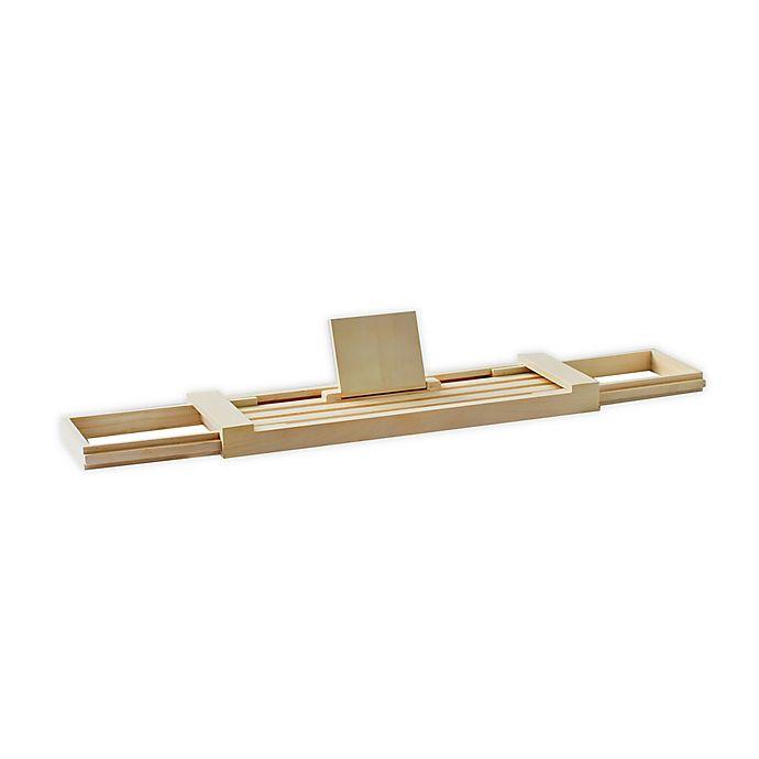 Alternate image 1 for Haven™ Teak Wood Bathtub Caddy in Whitewash