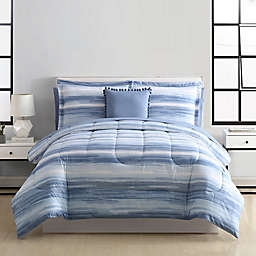 Watercolor Stripe 6-Piece Twin/Twin XL Comforter Set in Blue