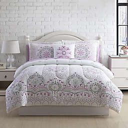 Pamela 6-Piece Twin/Twin XL Comforter Set in White/Purple
