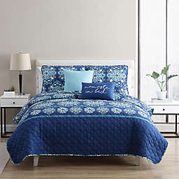 Louise 5-Piece Full/Full XL Quilt Set in Blue