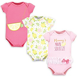 Little Treasure 3-Pack Squeeze Bodysuits in Pink