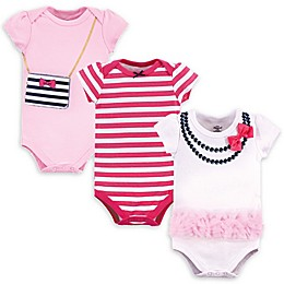 Little Treasure 3-Pack Pink Navy Necklace Bodysuits