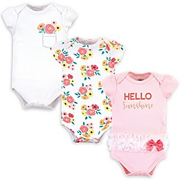 Little Treasure 3-Pack Flower Bodysuits in Pink