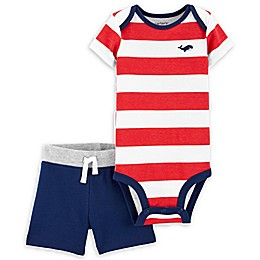 carter's® 2-Piece Stripe Bodysuit and Short Set in Red