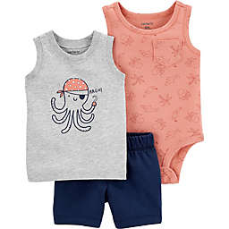 carter's® 3-Piece Octopus Tank, Bodysuit and Short Set in Grey