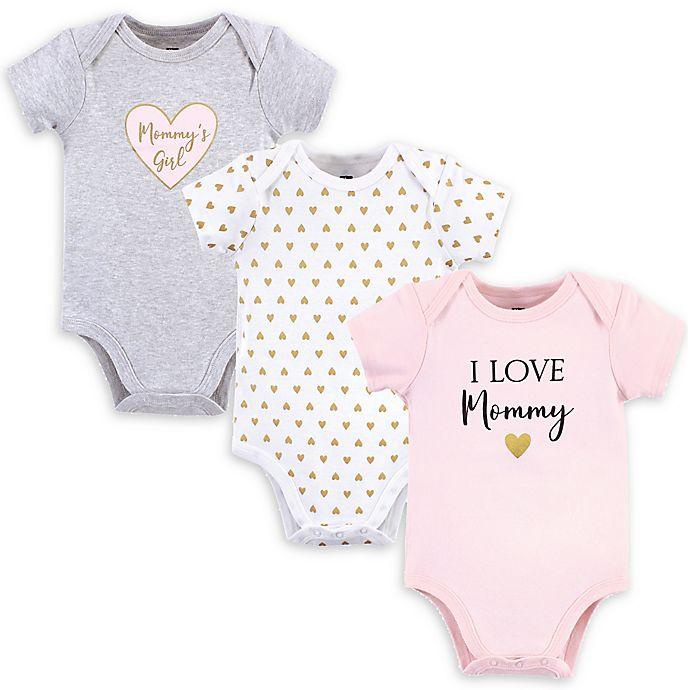 Alternate image 1 for Hudson Baby® Size M 3-Pack Mommy's Girl Short Sleeve Bodysuits
