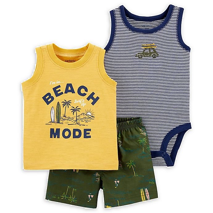 Alternate image 1 for carter's® 3-Piece Beach Mode Tank, Bodysuit and Short Set in Yellow