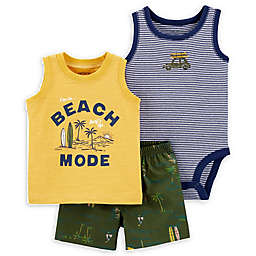 carter's® 3-Piece Beach Mode Tank, Bodysuit and Short Set in Yellow