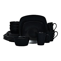 Noritake® Black on Black Snow Square 16-Piece Dinnerware Set