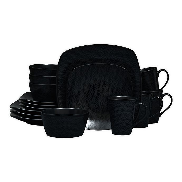 Alternate image 1 for Noritake® Black on Black Snow Square 16-Piece Dinnerware Set