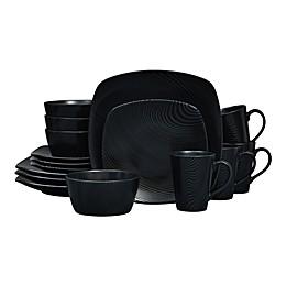 Noritake® Black on Black Dune Square16-Piece Dinnerware Set