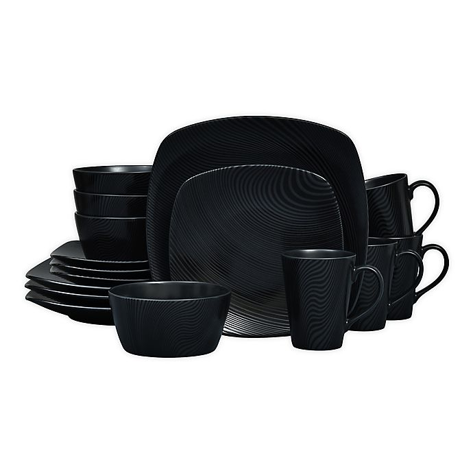 Alternate image 1 for Noritake® Black on Black Dune Square16-Piece Dinnerware Set
