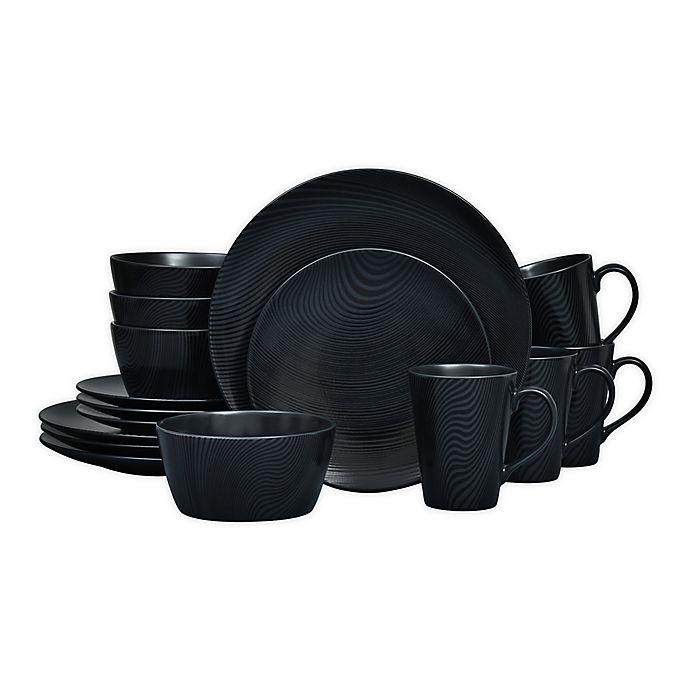 Alternate image 1 for Noritake® Black on Black Dune Coupe 16-Piece Dinnerware Set
