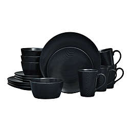 Noritake® Black on Black Dune Coupe 16-Piece Dinnerware Set