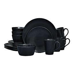 Noritake® Black on Black Dune Coupe 16-Piece Dinnerware Set