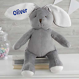 "Embroidered 16"" Plush Bunny in Grey"