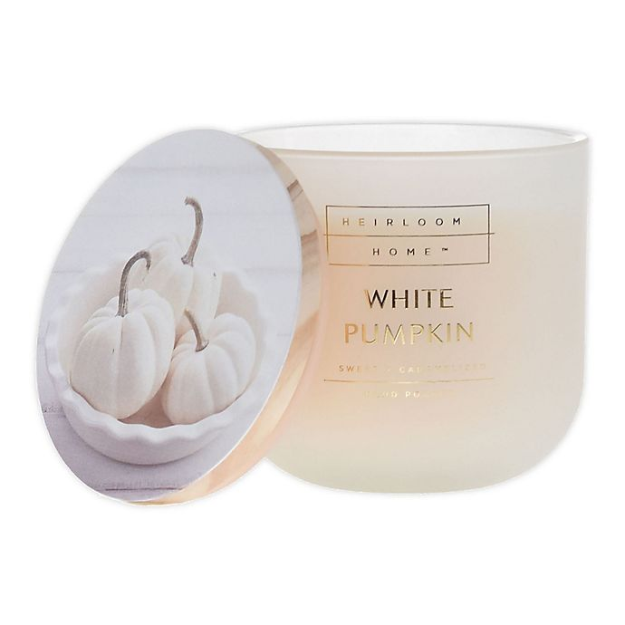 Alternate image 1 for Heirloom Home™ White Pumpkin 14 oz. Glass Jar Candle