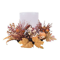 Heritage Home Harvest Fall Leaves Hurricane Glass Candle Holder