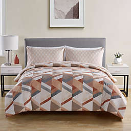 VCNY Home Kasper 5-Piece Full/Full XL Comforter and Sheet Set in Peach/White