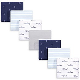 Hudson Baby® 7-Pack Shark Flannel Receiving Blanket in Blue