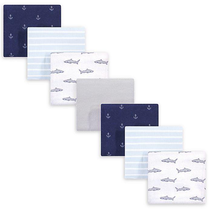 Alternate image 1 for Hudson Baby® 7-Pack Shark Flannel Receiving Blanket in Blue