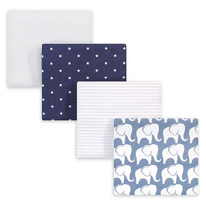 Alternate image 1 for Hudson Baby® 4-Pack Elephant Flannel Receiving Blankets in Blue